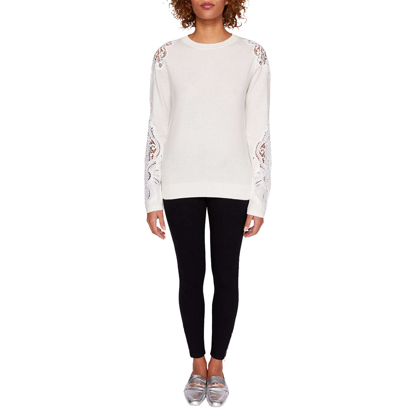 BuyTed Baker Lace Detail Jumper, Ivory, 0 Online at johnlewis.com