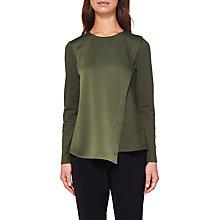 Buy Ted Baker Asymmetric Layer Long Sleeve Top, Khaki Online at johnlewis.com