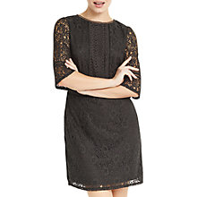 Buy Oasis Kick Sleeve Lace Dress, Mid Grey Online at johnlewis.com