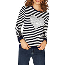 Buy Oasis Stripe Glitter Heart Jersey Top, Multi Online at johnlewis.com