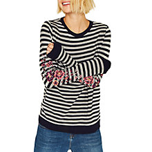 Buy Oasis Embroidered Stripe Top, Multi Online at johnlewis.com