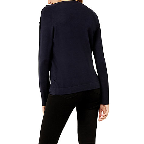 Buy Warehouse Button Sleeve Jumper, Navy Online at johnlewis.com