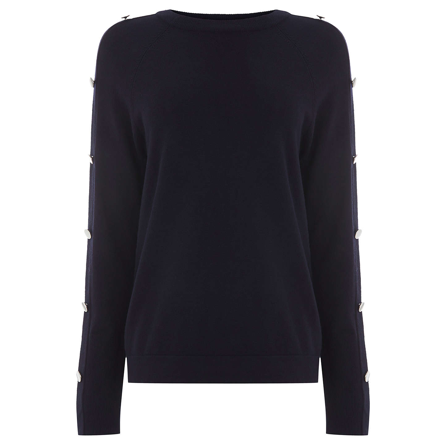 BuyWarehouse Button Sleeve Jumper, Navy, 6 Online at johnlewis.com