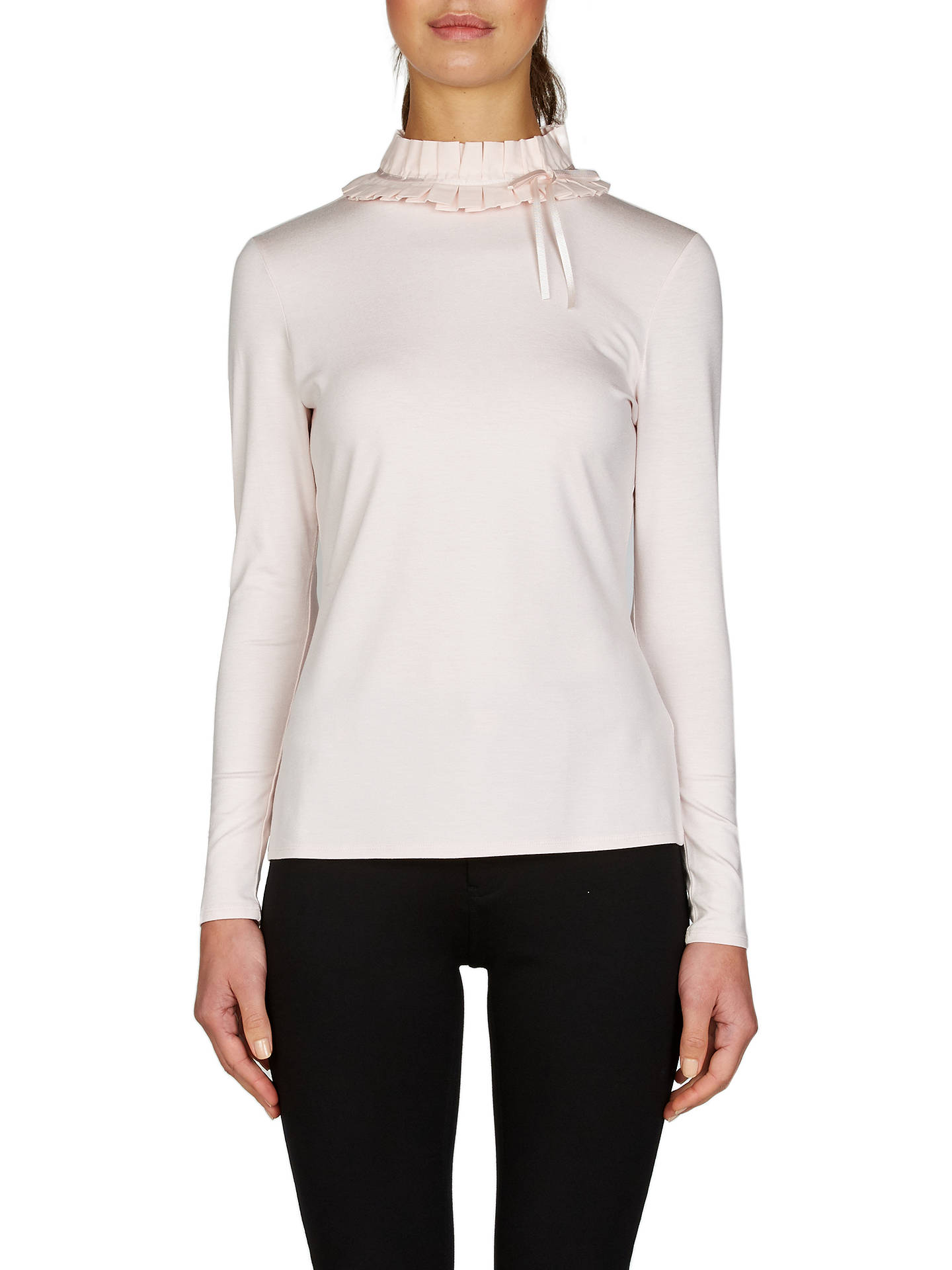 4f751faf4636 Ted Baker Ruffle Neck Fitted T-Shirt, Nude Pink at John Lewis & Partners