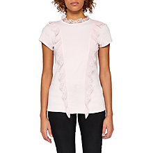 Buy Ted Baker Tuloula Pleated Lace High Neck Top, Pale Pink Online at johnlewis.com