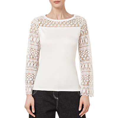 Finery Buxton Lace Detail Top, Ivory
