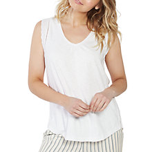 Buy Fat Face Broderie Tank Lounge Top, White Online at johnlewis.com