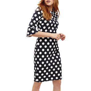 Phase Eight Katlyn Three Quarter Sleeve Spot Dress, Navy/Ivory