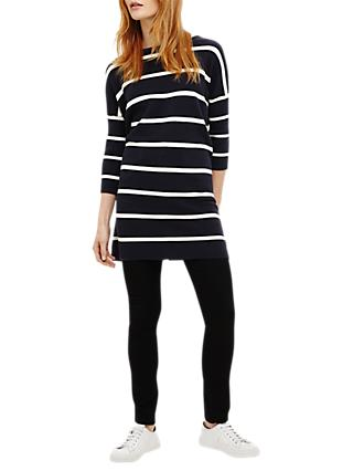 Phase Eight Tiberia Ripple Stitch Stripe Tunic Dress, Navy/White