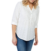 Buy Fat Face Poppy Broderie Popover Blouse, White Online at johnlewis.com