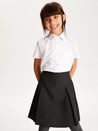 0ffbc8c7ae3 John Lewis & Partners The Basics Girls' Short Sleeve School Blouse, Pack of  3