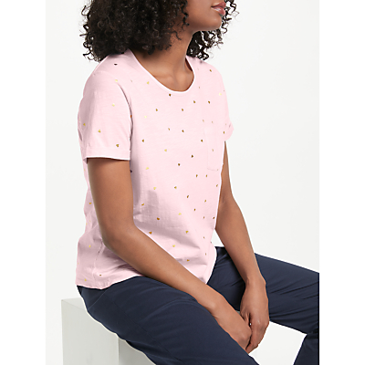 Collection WEEKEND by John Lewis Heart Foil Print T-Shirt, Pink/Gold