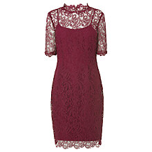 Buy L.K.Bennett Sasha Floral Lace Tailored Dress, Burgundy Online at johnlewis.com