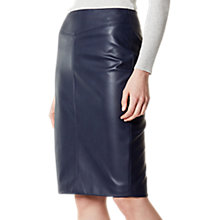 Buy Karen Millen Faux Leather Pencil Skirt, Navy Online at johnlewis.com