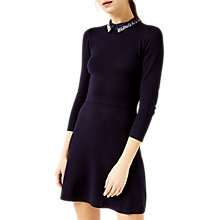 Buy Warehouse Pearl Embellished Collar Dress, Navy Online at johnlewis.com