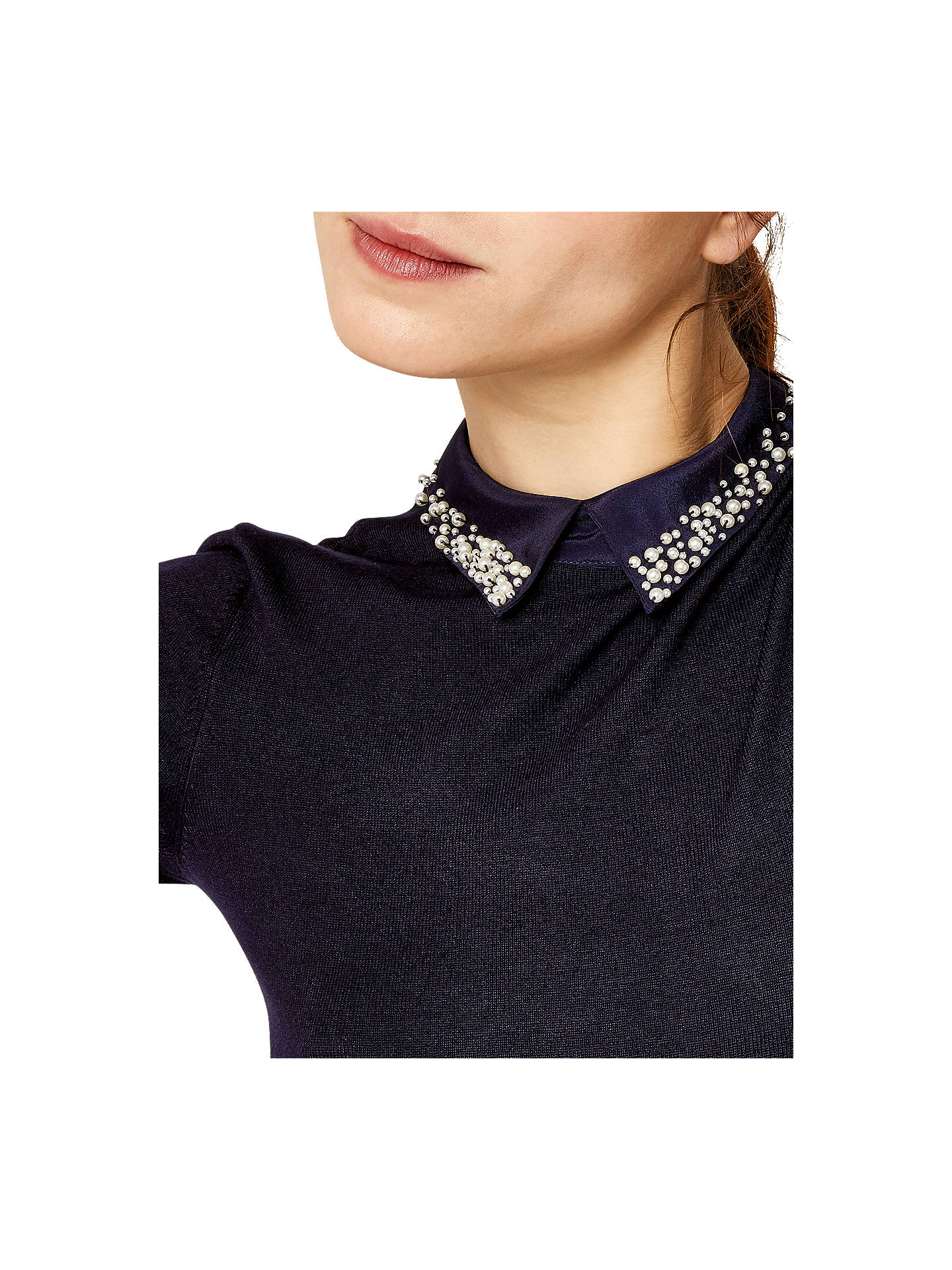 BuyWarehouse Pearl Embellished Collar Dress, Navy, 6 Online at johnlewis.com