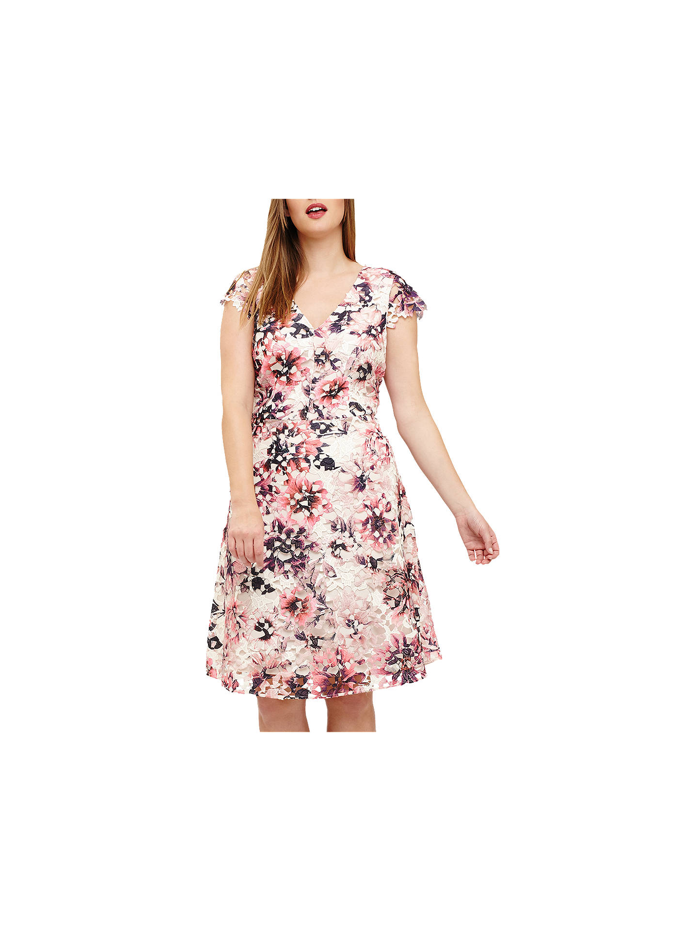 BuyStudio 8 Joselyn Printed Lace Dress, Pink/Multi, 12 Online at johnlewis.com