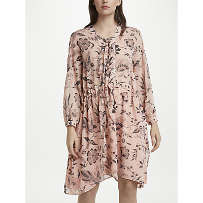 Maison Scotch Floral Neck Tie Flared Dress, Blush/Multi