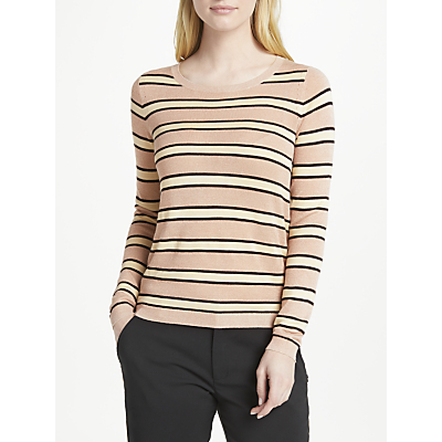 Maison Scotch Lurex Striped Jumper, Pink