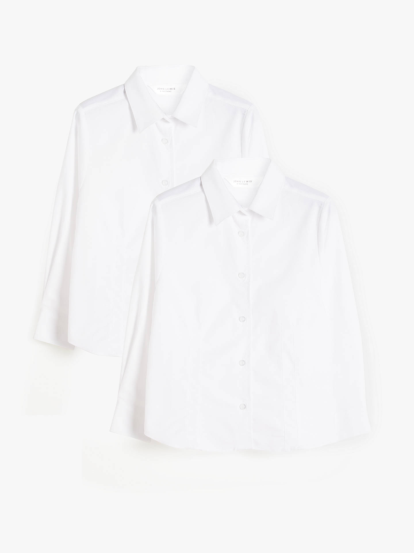 Buy John Lewis & Partners Girls' Organic Cotton Long Sleeve School Shirt, Pack of 2, White, 3 years Online at johnlewis.com