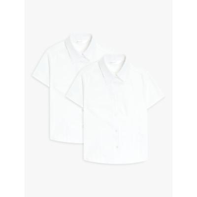 Image of John Lewis & Partners Organic Cotton Short Sleeve School Blouse, Pack of 2, White