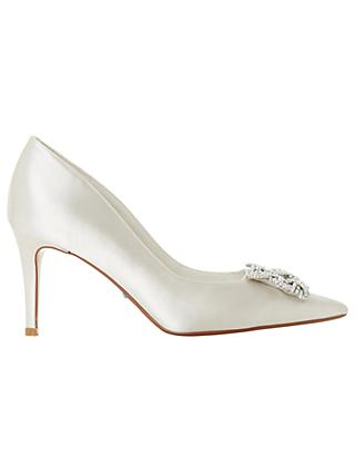 Dune Bridal Collection Breaann Jewel Stiletto Court Shoes, Ivory