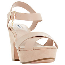 Buy Dune Iyla Block Heeled Cross Strap Platform Sandals, Blush Leather Online at johnlewis.com