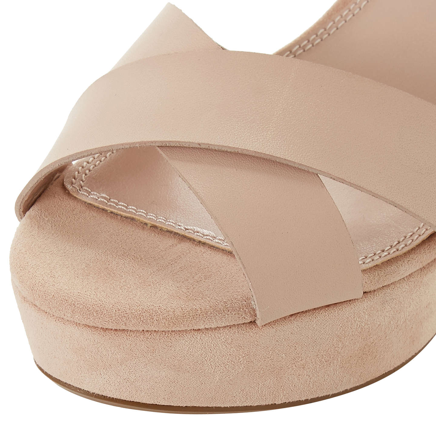 BuyDune Iyla Block Heeled Cross Strap Platform Sandals, Blush Leather, 8 Online at johnlewis.com