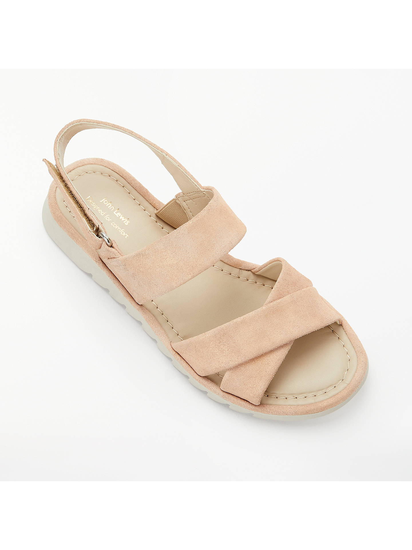 Buy John Lewis & Partners Designed for Comfort Lucy Cross Strap Sandals, Pink, 7 Online at johnlewis.com