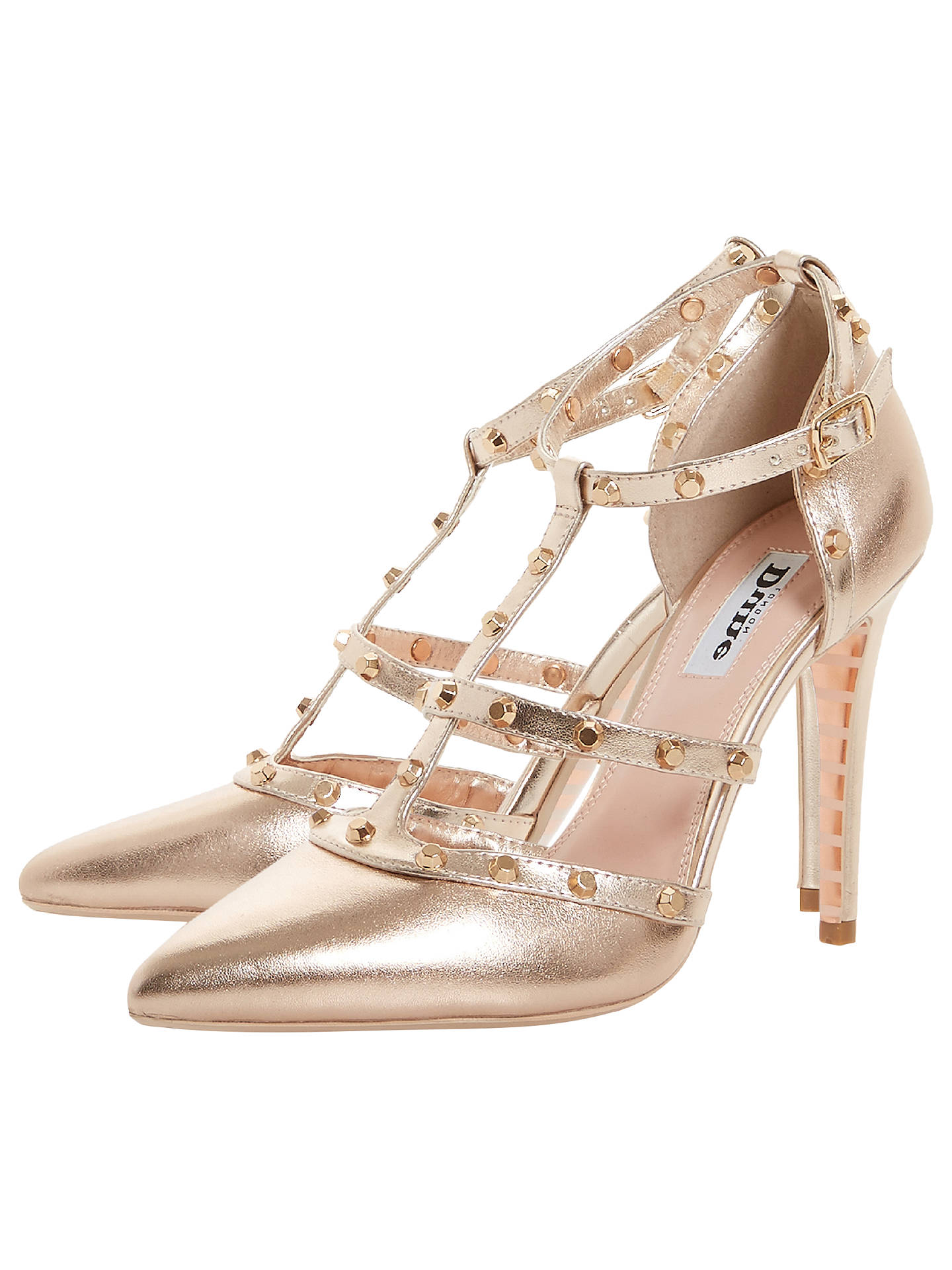 2677027d ... Buy Dune Daenerys Studded Cut Out Court Shoes, Rose Gold Leather, 3  Online at ...