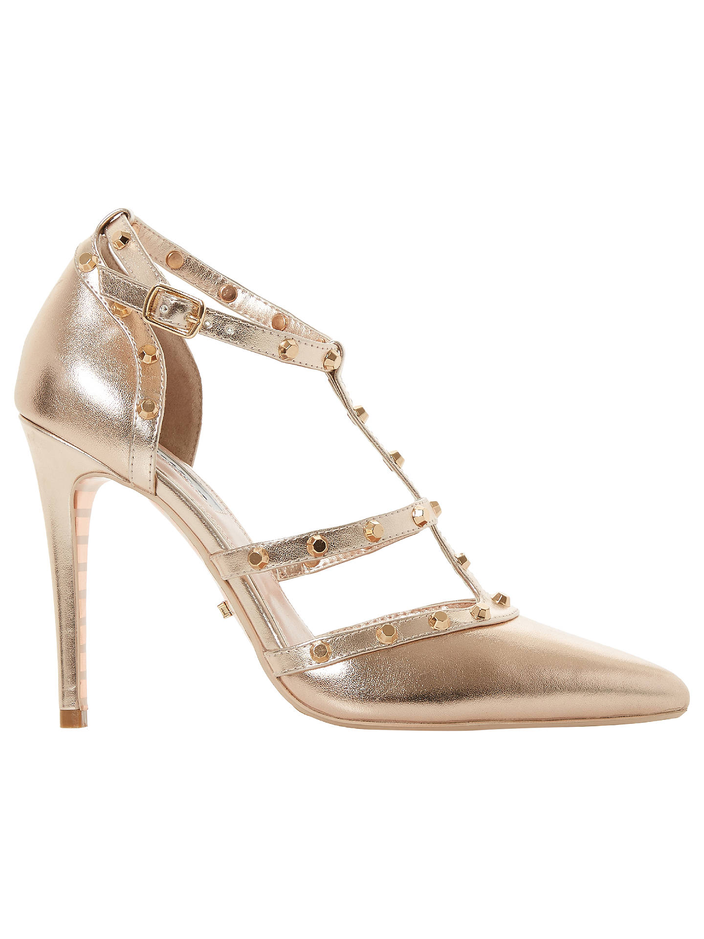 722974b3 Buy Dune Daenerys Studded Cut Out Court Shoes, Rose Gold Leather, 3 Online  at ...