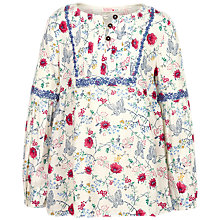 Buy Fat Face Girls' Emily Butterfly Print Blouse, Ecru Online at johnlewis.com