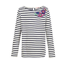 Buy Fat Face Girls' Long Sleeve Embroidered Breton T-Shirt Online at johnlewis.com