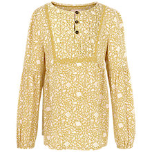 Buy Fat Face Girls' Emily Ditsy Print Blouse, Yellow Online at johnlewis.com