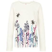 Buy Fat Face Girls' Long Sleeve Sequin Bee T-Shirt, Ecru Online at johnlewis.com