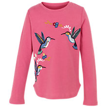 Buy Fat Face Girls' Long Sleeve Hummingbird Embroidery T-Shirt, Rose Online at johnlewis.com