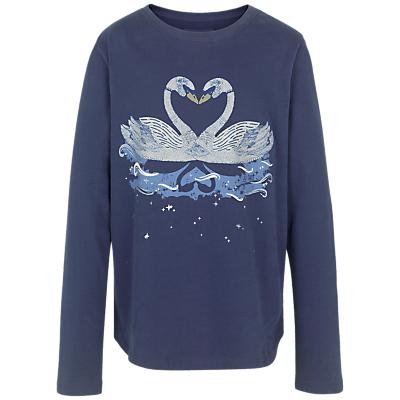 Product photo of Fat face girls long sleeve swan print tshirt navy
