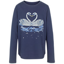 Buy Fat Face Girls' Long Sleeve Swan Print T-Shirt, Navy Online at johnlewis.com