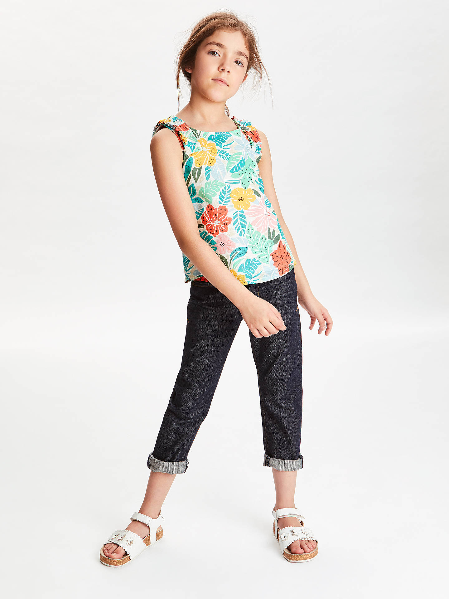 BuyJohn Lewis & Partners Girls' Tropical Woven Top, Green, 2 years Online at johnlewis.com