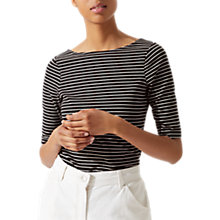 Buy Jigsaw Striped Ballet Back Top, Black Online at johnlewis.com