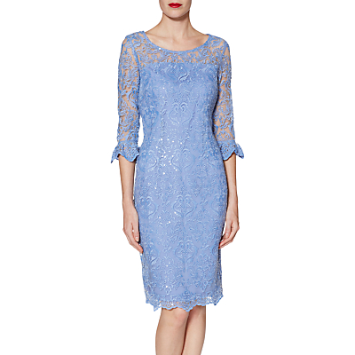 Gina Bacconi Benita Embroidered Mesh Dress, China Blue