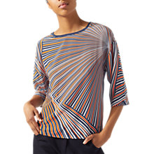 Buy Jigsaw Fan Print Silk Front Top, Gravel Online at johnlewis.com