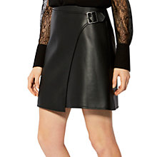Buy Karen Millen Faux Leather Wrap Skirt, Black Online at johnlewis.com