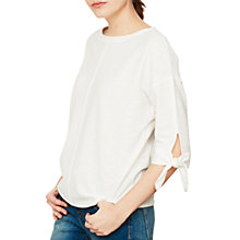 Buy Mint Velvet Tie Cuff Batwing Top, Ivory Online at johnlewis.com