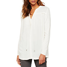 Buy Mint Velvet Ruched Tie Front Blouse, Ivory Online at johnlewis.com