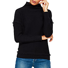 Buy Mint Velvet Pom Pom Funnel Neck Jumper, Navy Online at johnlewis.com