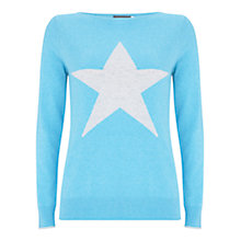 Buy Mint Velvet Star Crew Neck Jumper, Light Blue Online at johnlewis.com