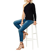 Buy Mint Velvet One Shoulder Knit Jumper, Navy Online at johnlewis.com