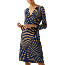 Buy Jigsaw Fan Print Wrap Dress, Navy Online at johnlewis.com