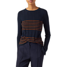 Buy Jigsaw Ribbed Stripe Long Sleeve Jumper, Navy/Orange Zest Online at johnlewis.com
